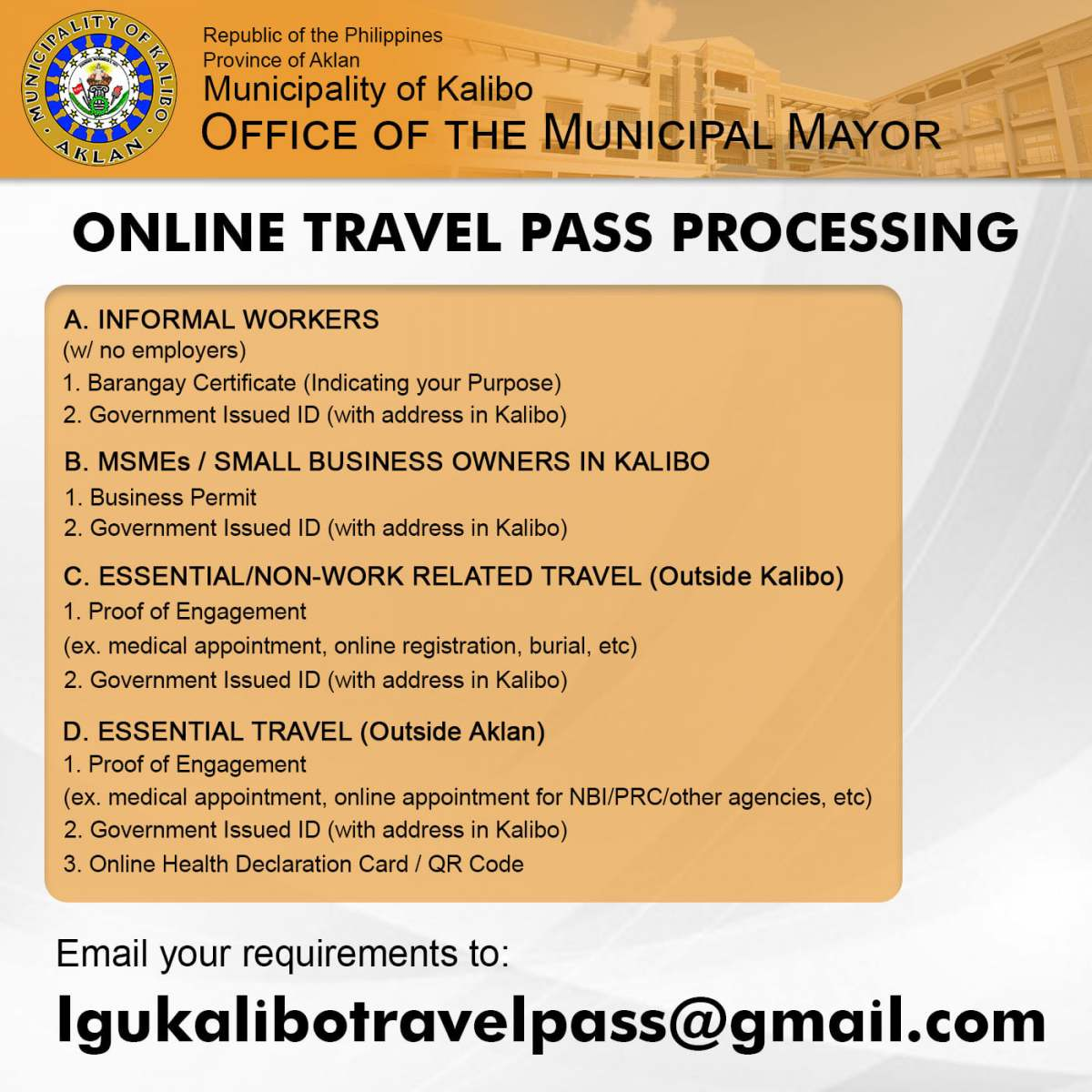 ONLINE PROCESSING OF TRAVEL PASS for INTERMUNICIPAL ESSENTIAL TRAVEL